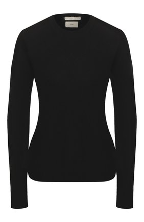 Женский кашемировый пуловер BOTTEGA VENETA черного цвета, арт. 604910/VKJX0   Фото 1 (Рукава: Длинные; Материал внешний: Кашемир, Шерсть; Длина (для топов): Стандартные; Стили: Кэжуэл, Минимализм, Классический; Женское Кросс-КТ: Пуловер-одежда)