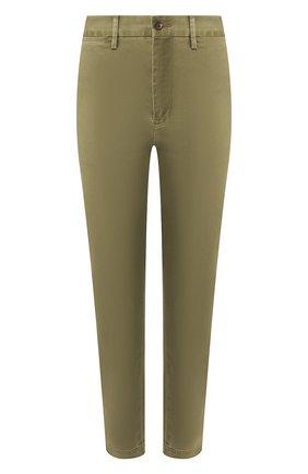 Женские хлопковые брюки POLO RALPH LAUREN зеленого цвета, арт. 211790738 | Фото 1