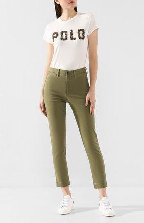 Женские хлопковые брюки POLO RALPH LAUREN зеленого цвета, арт. 211790738 | Фото 2