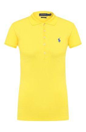 Женское хлопковое поло POLO RALPH LAUREN желтого цвета, арт. 211505654 | Фото 1