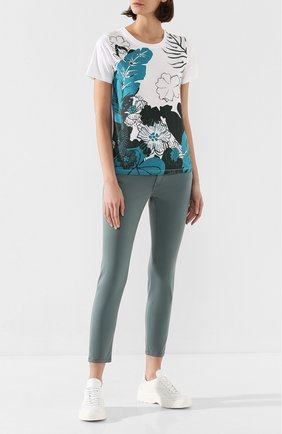 Женская хлопковая футболка ESCADA SPORT бирюзового цвета, арт. 5032160 | Фото 2