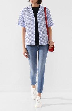 Женская хлопковая рубашка ESCADA синего цвета, арт. 5031977 | Фото 2