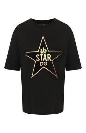 Женская хлопковая футболка DOLCE & GABBANA черного цвета, арт. F8L89Z/G7VDT | Фото 1