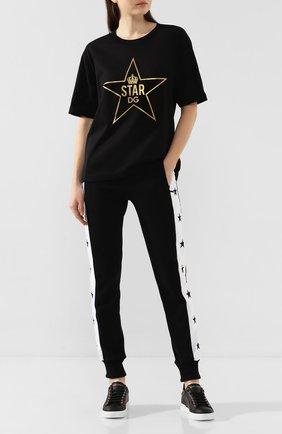 Женская хлопковая футболка DOLCE & GABBANA черного цвета, арт. F8L89Z/G7VDT | Фото 2