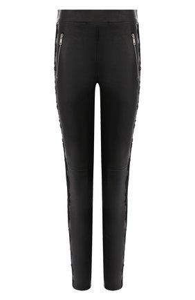 Женские кожаные леггинсы ALEXANDER MCQUEEN черного цвета, арт. 610856/Q5AC5 | Фото 1