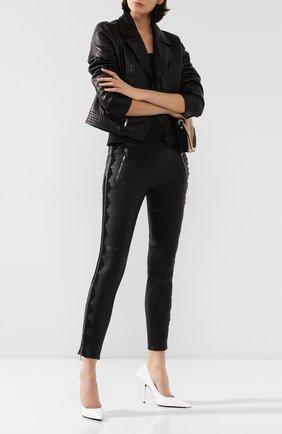 Женские кожаные леггинсы ALEXANDER MCQUEEN черного цвета, арт. 610856/Q5AC5 | Фото 2