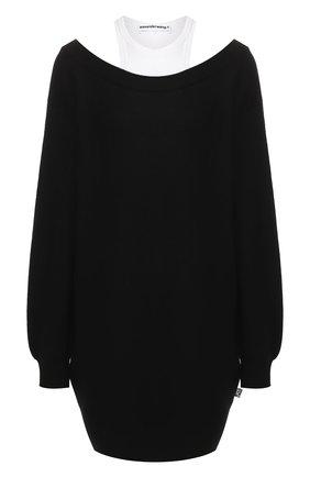 Женское шерстяное платье ALEXANDERWANG.T черно-белого цвета, арт. 4KC1206012 | Фото 1