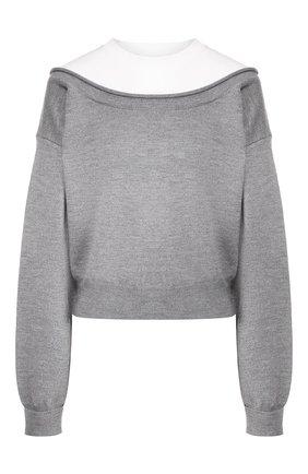 Женская шерстяной пуловер ALEXANDERWANG.T серого цвета, арт. 4KC1201012 | Фото 1