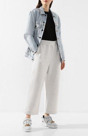Женские хлопковые брюки ALEXANDERWANG.T серого цвета, арт. 4CC1204016 | Фото 2
