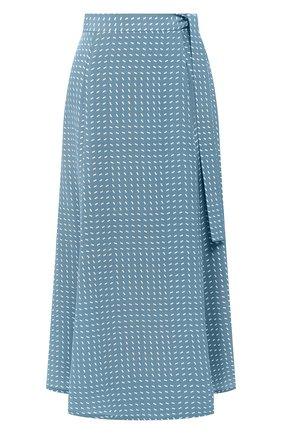 Женская шелковая юбка LORO PIANA голубого цвета, арт. FAL0756   Фото 1