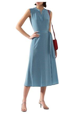 Женская шелковая юбка LORO PIANA голубого цвета, арт. FAL0756 | Фото 2