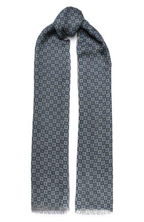 Мужской шарф из смеси шелка и льна LORO PIANA синего цвета, арт. FAL0022 | Фото 1