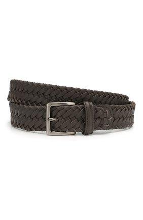 Мужской кожаный ремень LORO PIANA темно-коричневого цвета, арт. FAI5647 | Фото 1