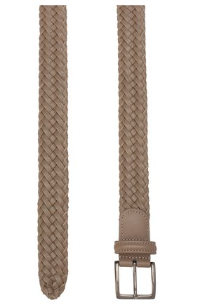 Мужской кожаный ремень LORO PIANA бежевого цвета, арт. FAI5647 | Фото 2