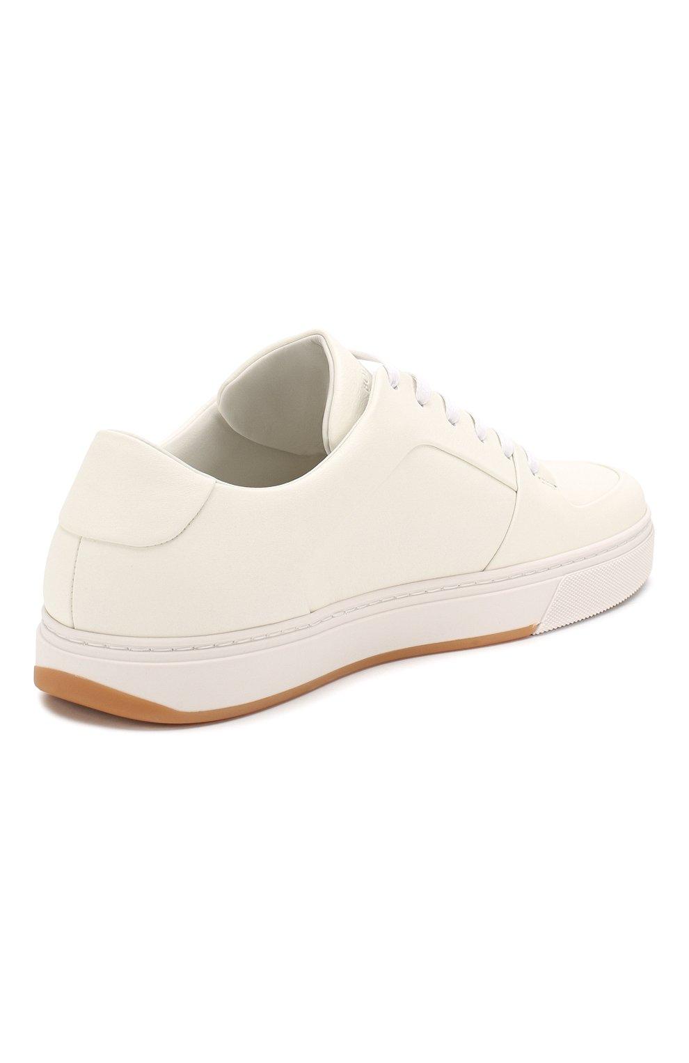 Мужские кожаные кеды BOTTEGA VENETA белого цвета, арт. 608761/VT040 | Фото 4 (Материал внутренний: Натуральная кожа; Подошва: Массивная)