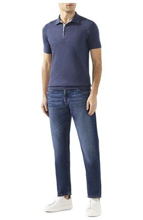 Мужское поло из смеси льна и хлопка BRUNELLO CUCINELLI синего цвета, арт. M2L00295 | Фото 2