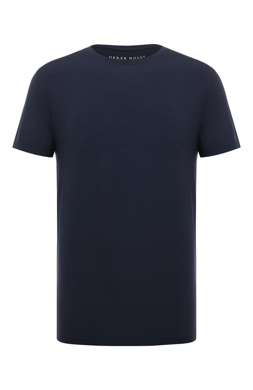 Мужская футболка DEREK ROSE синего цвета, арт. 3048-BASE001   Фото 1 (Кросс-КТ: домашняя одежда; Рукава: Короткие; Материал внешний: Синтетический материал; Длина (для топов): Стандартные; Мужское Кросс-КТ: Футболка-белье)