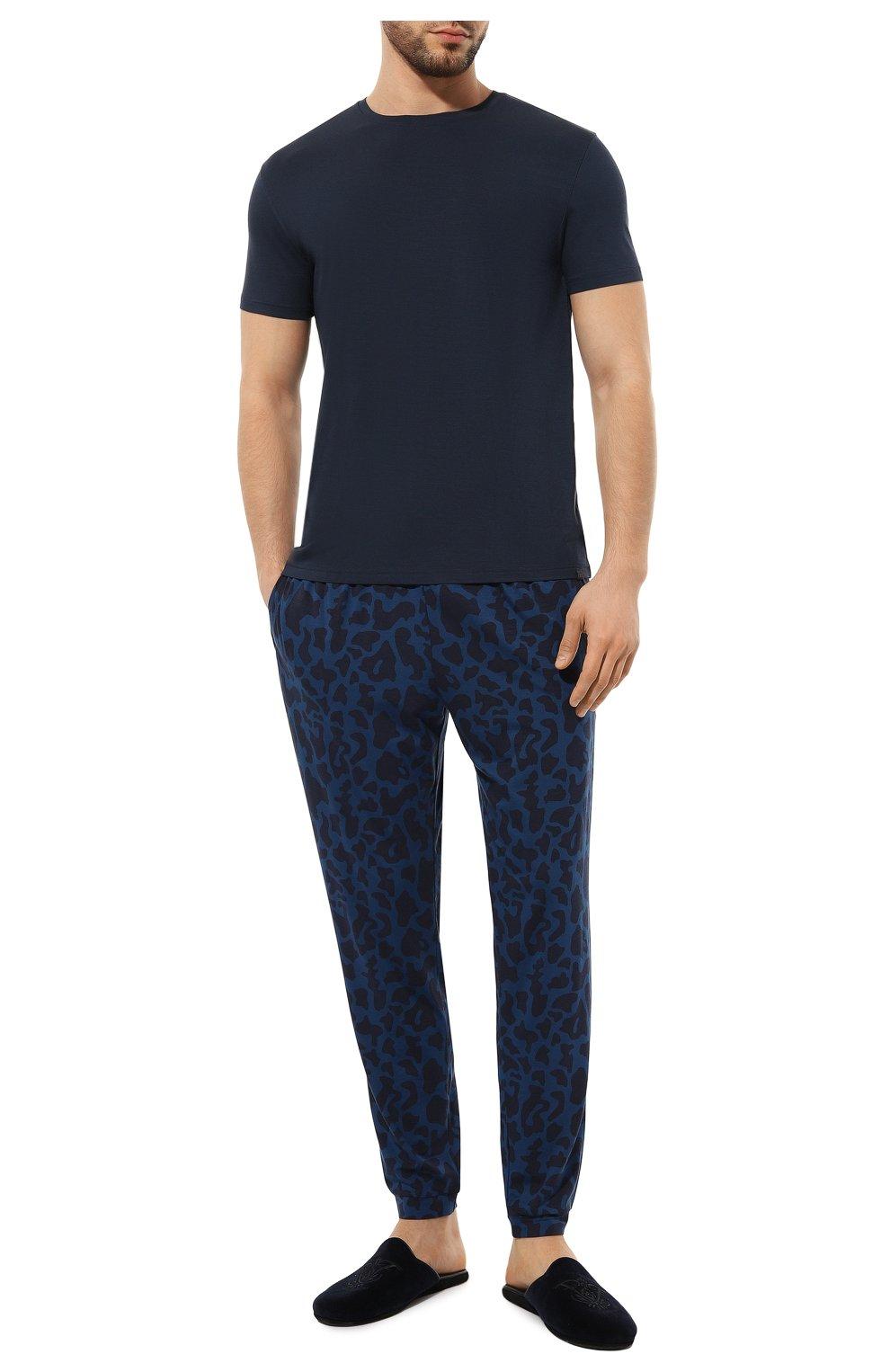 Мужская футболка DEREK ROSE синего цвета, арт. 3048-BASE001   Фото 2 (Кросс-КТ: домашняя одежда; Рукава: Короткие; Материал внешний: Синтетический материал; Длина (для топов): Стандартные; Мужское Кросс-КТ: Футболка-белье)