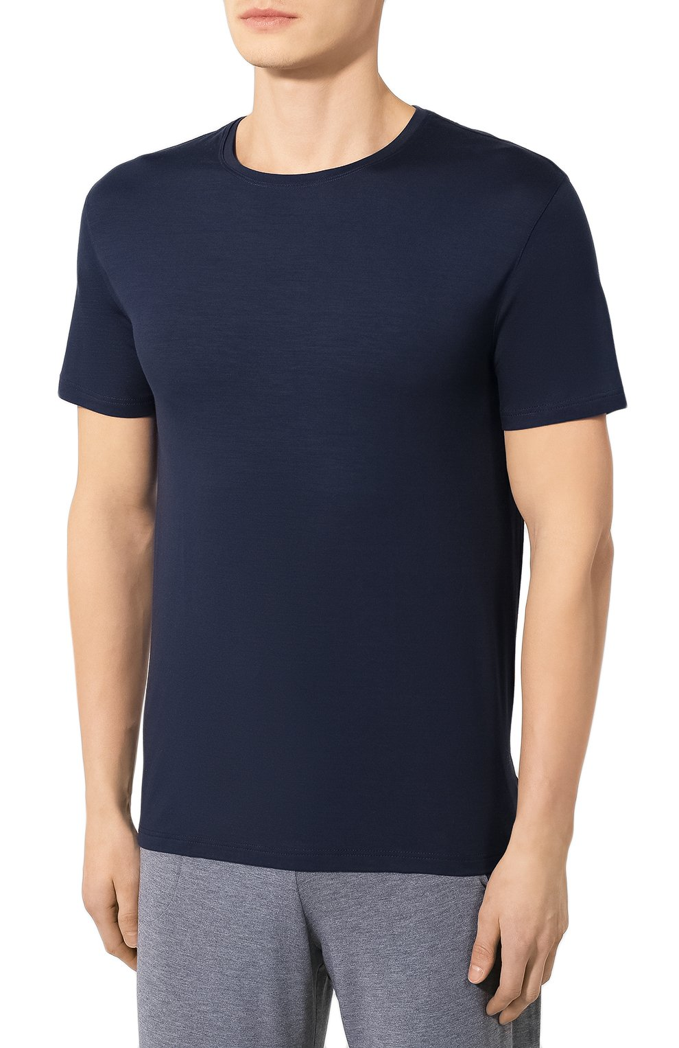 Мужская футболка DEREK ROSE синего цвета, арт. 3048-BASE001   Фото 3 (Кросс-КТ: домашняя одежда; Рукава: Короткие; Материал внешний: Синтетический материал; Длина (для топов): Стандартные; Мужское Кросс-КТ: Футболка-белье)