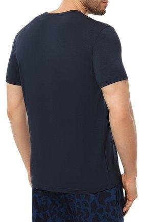 Мужская футболка DEREK ROSE синего цвета, арт. 3048-BASE001   Фото 4 (Кросс-КТ: домашняя одежда; Рукава: Короткие; Материал внешний: Синтетический материал; Длина (для топов): Стандартные; Мужское Кросс-КТ: Футболка-белье)