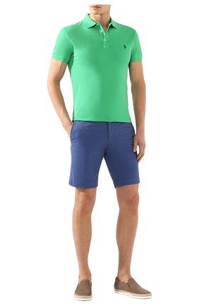 Мужское хлопковое поло POLO RALPH LAUREN зеленого цвета, арт. 710541705 | Фото 2 (Рукава: Короткие; Материал внешний: Хлопок; Длина (для топов): Стандартные; Застежка: Пуговицы)