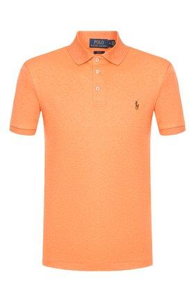 Мужское хлопковое поло POLO RALPH LAUREN оранжевого цвета, арт. 710652578   Фото 1 (Рукава: Короткие; Материал внешний: Хлопок; Длина (для топов): Стандартные; Застежка: Пуговицы)