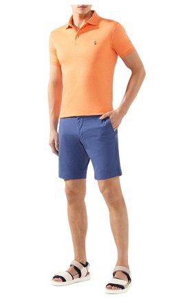 Мужское хлопковое поло POLO RALPH LAUREN оранжевого цвета, арт. 710652578   Фото 2 (Рукава: Короткие; Материал внешний: Хлопок; Длина (для топов): Стандартные; Застежка: Пуговицы)