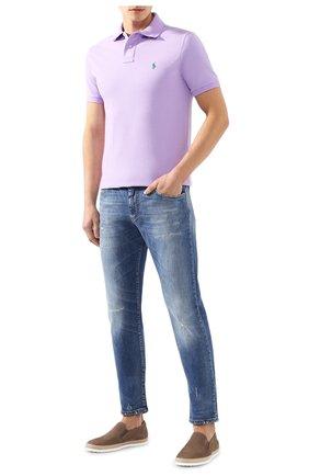 Мужское хлопковое поло POLO RALPH LAUREN сиреневого цвета, арт. 710680784 | Фото 2