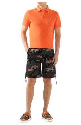 Мужское хлопковое поло POLO RALPH LAUREN оранжевого цвета, арт. 710680784 | Фото 2
