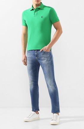 Мужское хлопковое поло POLO RALPH LAUREN зеленого цвета, арт. 710680784 | Фото 2 (Рукава: Короткие; Материал внешний: Хлопок; Длина (для топов): Стандартные; Застежка: Пуговицы)