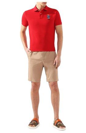 Мужское хлопковое поло POLO RALPH LAUREN красного цвета, арт. 710782858 | Фото 2