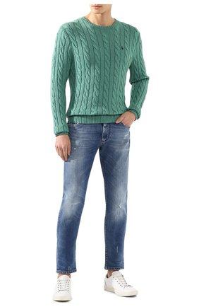 Мужской хлопковый джемпер POLO RALPH LAUREN светло-зеленого цвета, арт. 710775885 | Фото 2