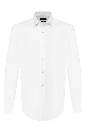Мужская хлопковая сорочка BOSS белого цвета, арт. 50421990 | Фото 1