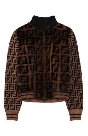 Детская куртка с меховой отделкой FENDI коричневого цвета, арт. JFA106/A1QI/10A-12+ | Фото 1