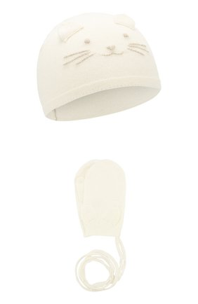 Детский комплект из шапки и варежек TARTINE ET CHOCOLAT бежевого цвета, арт. TP90021 | Фото 1