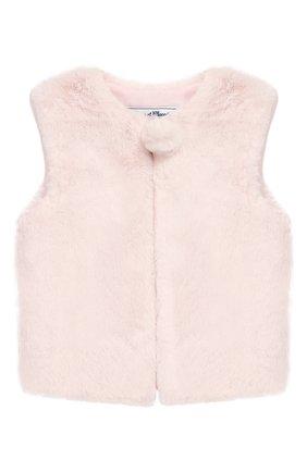 Детский жилет TARTINE ET CHOCOLAT светло-розового цвета, арт. TP16001/18M-3A | Фото 1 (Материал подклада: Синтетический материал; Рукава: Короткие; Материал внешний: Синтетический материал)