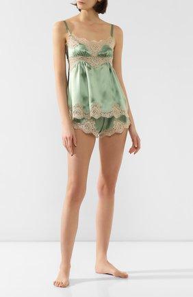 Женские шорты из смеси шелка и хлопка DOLCE & GABBANA зеленого цвета, арт. FTBMTT/FU1NU | Фото 2