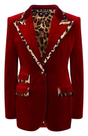 Женский жакет из смеси хлопка и шелка DOLCE & GABBANA красного цвета, арт. F29CET/FUWB3 | Фото 1
