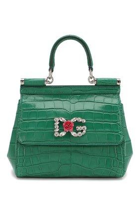 Женская сумка sicily small из кожи аллигатора DOLCE & GABBANA зеленого цвета, арт. BB6003/B2DG6/AMIS | Фото 1