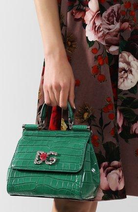 Женская сумка sicily small из кожи аллигатора DOLCE & GABBANA зеленого цвета, арт. BB6003/B2DG6/AMIS | Фото 2