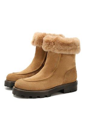 Женские замшевые ботинки buffy JIMMY CHOO бежевого цвета, арт. BUFFY FLAT/0DI | Фото 1