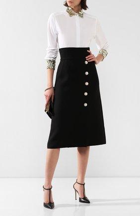 Женская шерстяная юбка DOLCE & GABBANA черного цвета, арт. F4BRGZ/FU2TS | Фото 2
