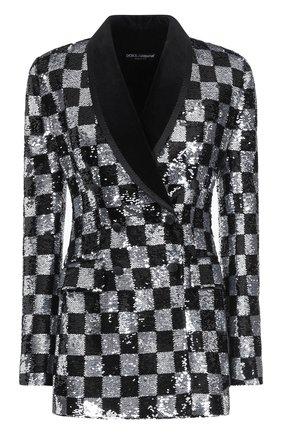Женский жакет с пайетками DOLCE & GABBANA черного цвета, арт. F29CVT/HLMZN   Фото 1