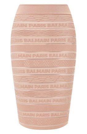 Женская юбка из вискозы BALMAIN бежевого цвета, арт. TF14307/K031 | Фото 1