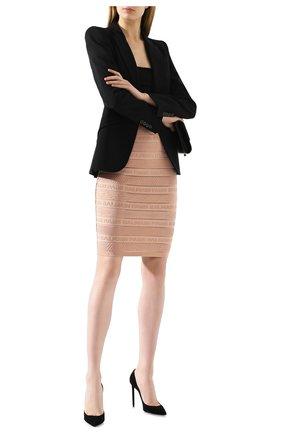 Женская юбка из вискозы BALMAIN бежевого цвета, арт. TF14307/K031 | Фото 2