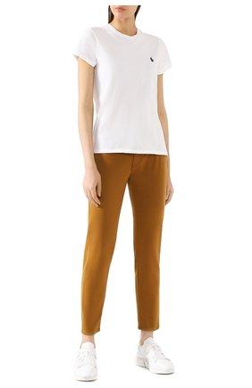 Женская хлопковая футболка POLO RALPH LAUREN белого цвета, арт. 211734144   Фото 2