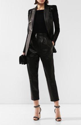 Женские кожаные брюки ALEXANDER MCQUEEN черного цвета, арт. 610858/Q5AC2 | Фото 2