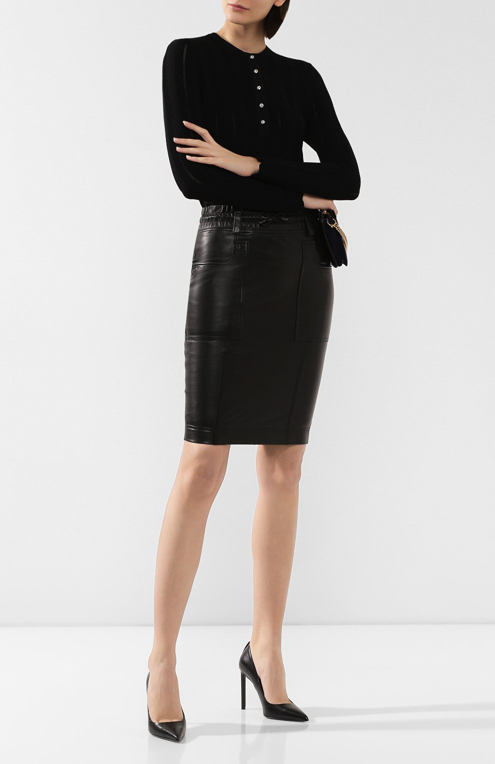 Женская кожаная юбка TOM FORD черного цвета, арт. GCL791-LEX228 | Фото 2
