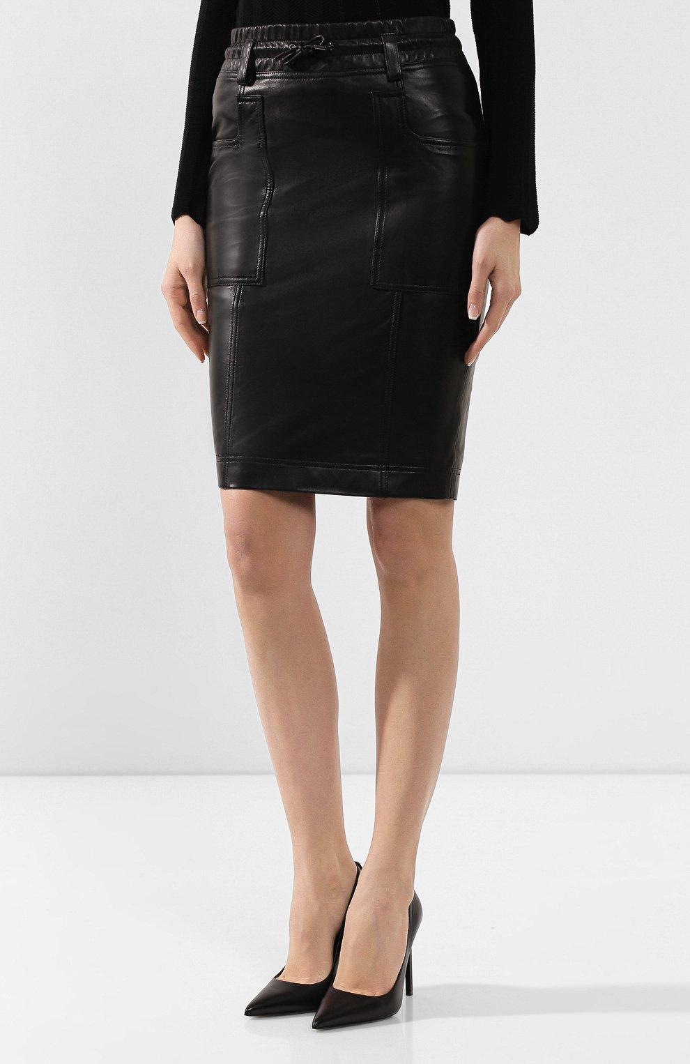 Женская кожаная юбка TOM FORD черного цвета, арт. GCL791-LEX228 | Фото 3