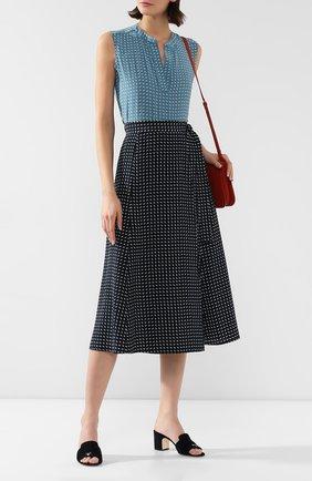 Женская шелковая юбка LORO PIANA темно-синего цвета, арт. FAL0756   Фото 2